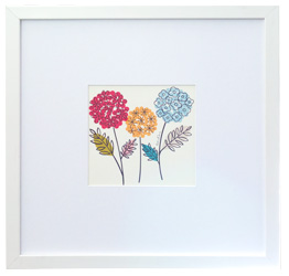 white framed picture flowers