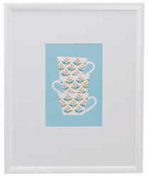 white framed picture of cups