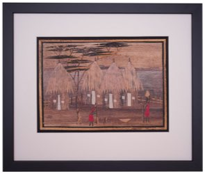 framed painting of african huts