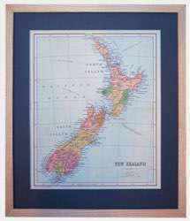 framed map of new zealand