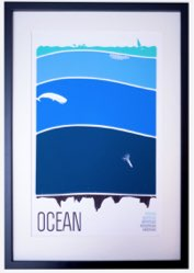 framed poster of ocean